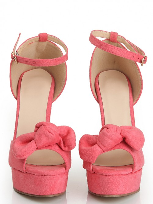 Chicregina Womens Peep Toe Suede Stiletto Heel Platform Sandal Shoes with Knot