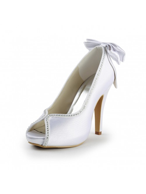 Chicregina Womens Satin Upper Stiletto Heel Peep Toe Wedding Shoes with Bowknot