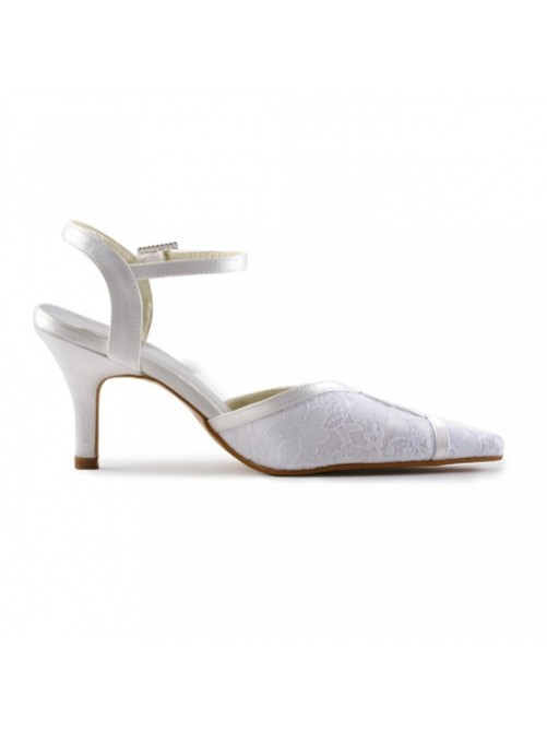 Chicregina Womens Satin Stiletto Sandals with Stitching Lace For Bride