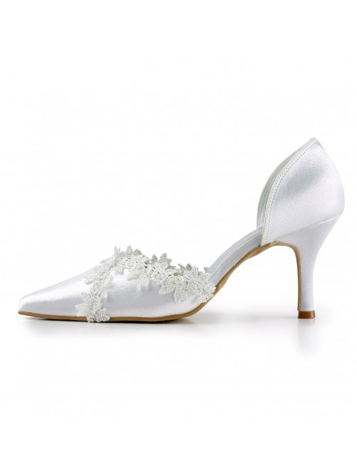 Chicregina Womens Satin Stiletto Heel Closed Toe Pumps Wedding Shoes with Stitching Lace