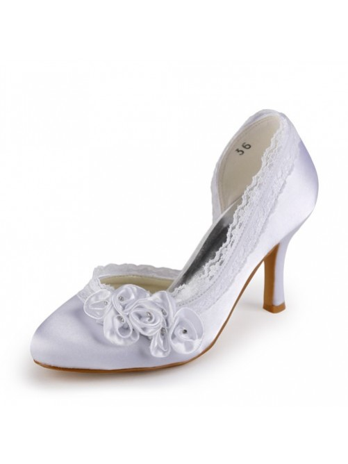 Chicregina Womens Satin Stiletto Heel Closed Toe Pumps Wedding Shoes with Rhinestone Satin Flower Stitching Lace