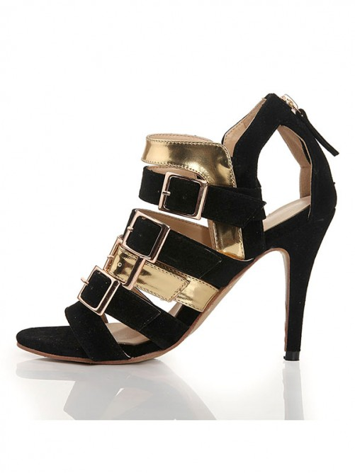 Chicregina Womens Flock Peep Toe Stiletto Heel Sandal Shoes with Buckle