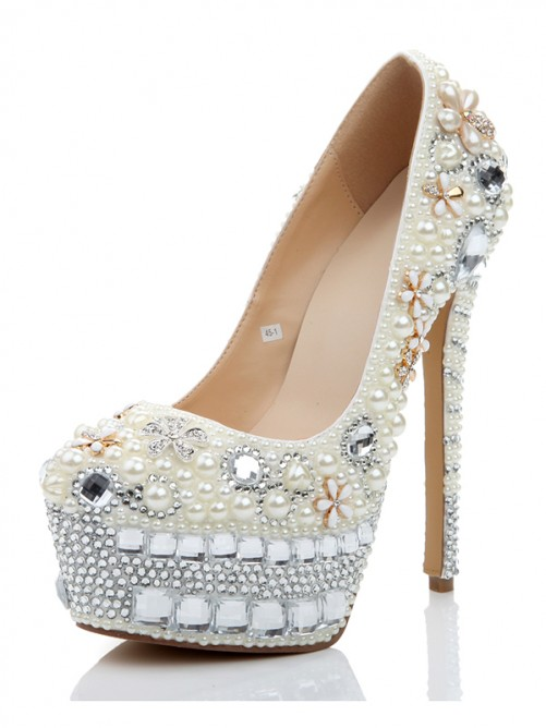 Chicregina Womens Stiletto Heel Platform Patent Leather Closed Toe Wedding Shoes with Pearl