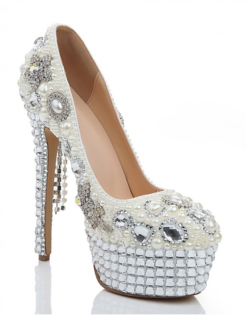 Chicregina Womens Patent Leather Stiletto Heel Platform Wedding Shoes with Pearl Chain