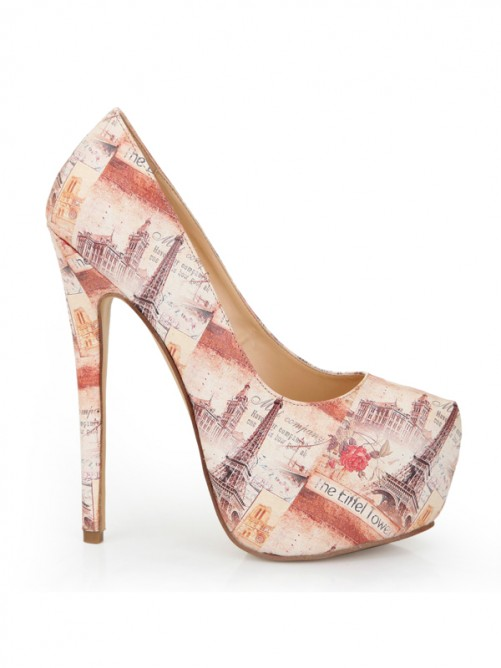 Chicregina Womens Closed Toe Stiletto Heel Platform with Newspaper Patterns Shoes