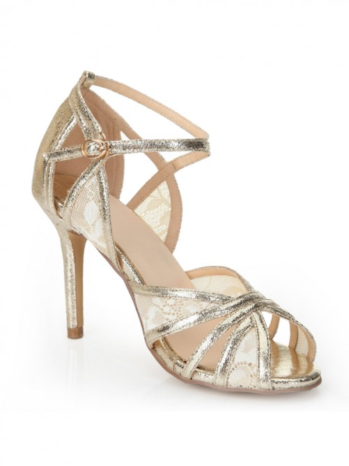 Chicregina Womens Stiletto Heel Peep Toe Gold Sandal Shoes
