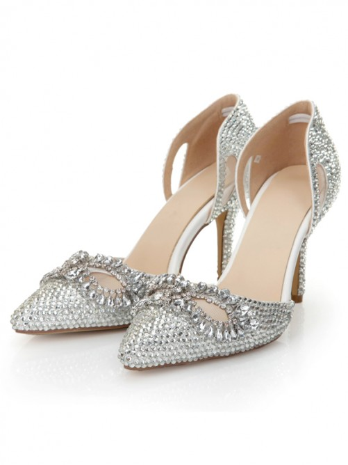 Chicregina Womens Cone Heel Patent Leather Closed Toe Wedding Shoes with Rhinestone