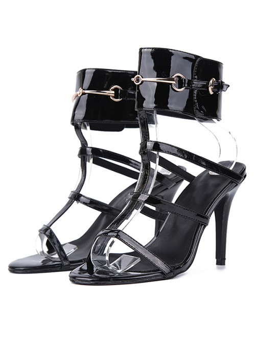 Chicregina Womens Patent Leather Peep Toe Stiletto Heel Sandals Shoes