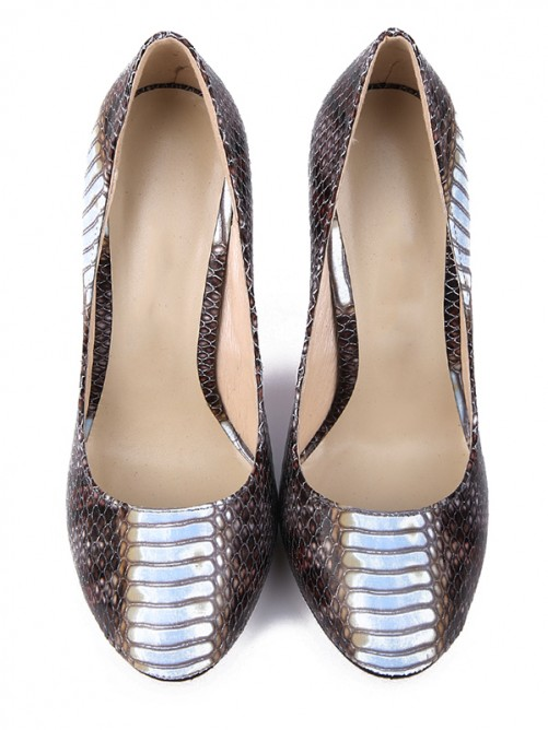 Chicregina Womens Snake Print Pu Round Toe Stiletto Heel Evening Shoes