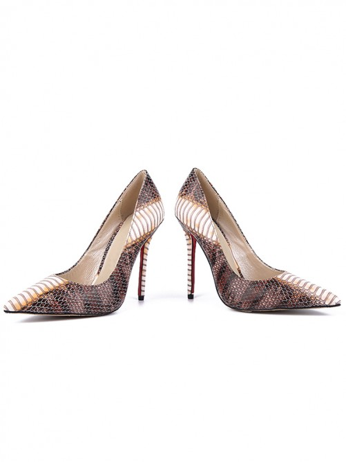 Chicregina Womens Snake Print Pu Closed Toe Stiletto Heel Evening Shoes