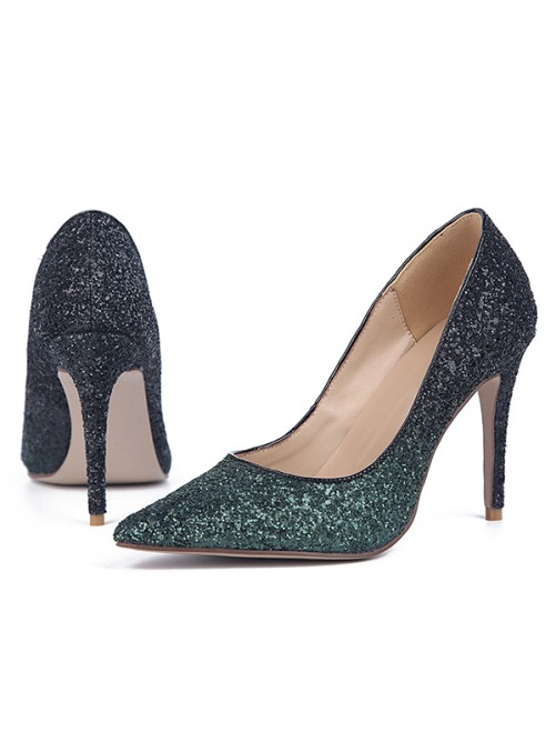 Chicregina Womens Sparkling Glitter Stiletto Heel Closed Toe Evening Shoes