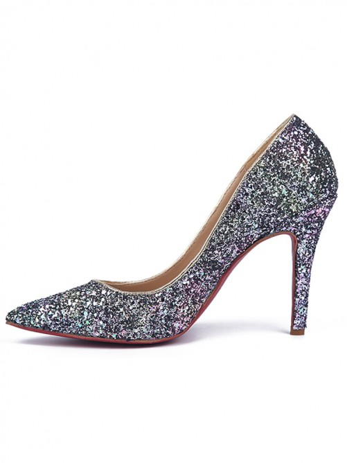 Chicregina Womens Stiletto Heel Sparkling Glitter Closed Toe Party Shoes