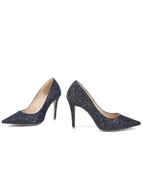 Chicregina Womens Stiletto Heel Sparkling Glitter Closed Toe Evening Shoes