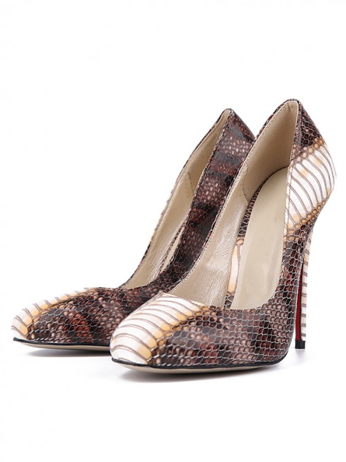 Chicregina Womens Snake Print Pu Closed Toe Stiletto Heel Party Shoes