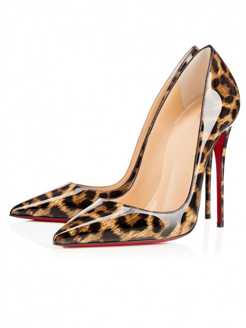 Chicregina Womens Leopard Print Patent Leather Closed Toe Stiletto Heel Party Shoes
