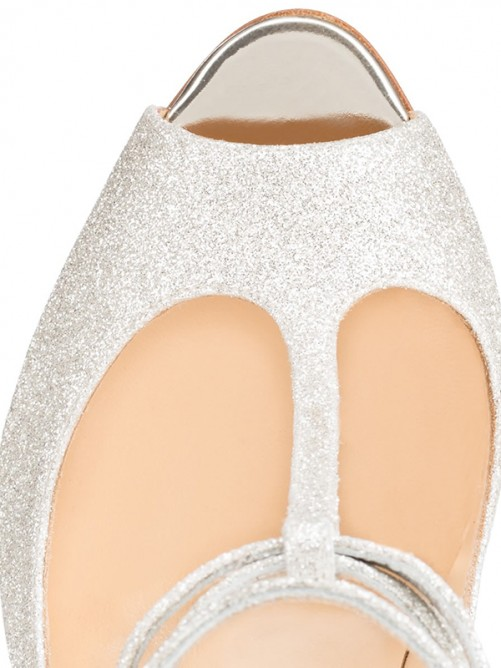Chicregina Womens Sparkling Glitter Peep Toe Heel Party Shoes with Ankle Strap