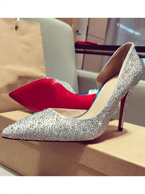 Chicregina Womens Satin Closed Toe Stiletto Heel with Rhinestone Shoes