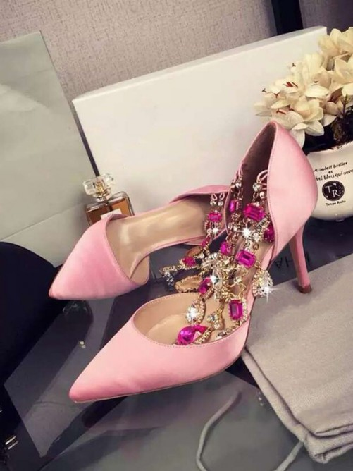 Chicregina Womens Pink Stiletto Heel Satin Closed Toe Chain Party Shoes with Rhinestone