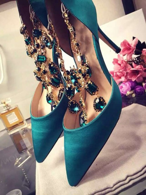 Chicregina Womens Stiletto Heel Satin Closed Toe with Party Shoes Rhinestone Chain