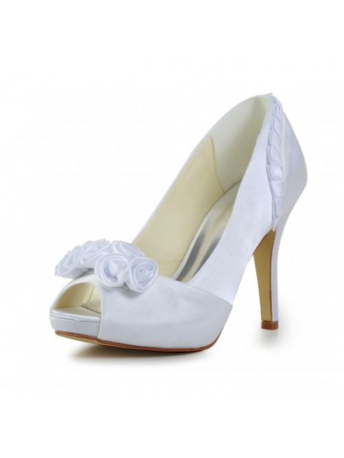 Chicregina Womens Fabulous Satin Stiletto Heel Pumps Wedding Shoes with Flower