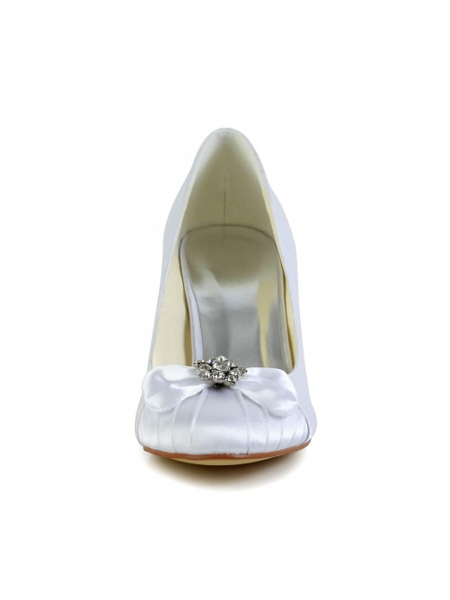 Chicregina Womens Nice Satin Cone Heel Closed Toe Pumps Wedding Shoes with Bowknot Rhinestone