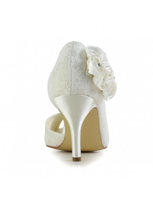 Chicregina Womens Trendy Stiletto Heel Satin Wedding Shoes with Flower