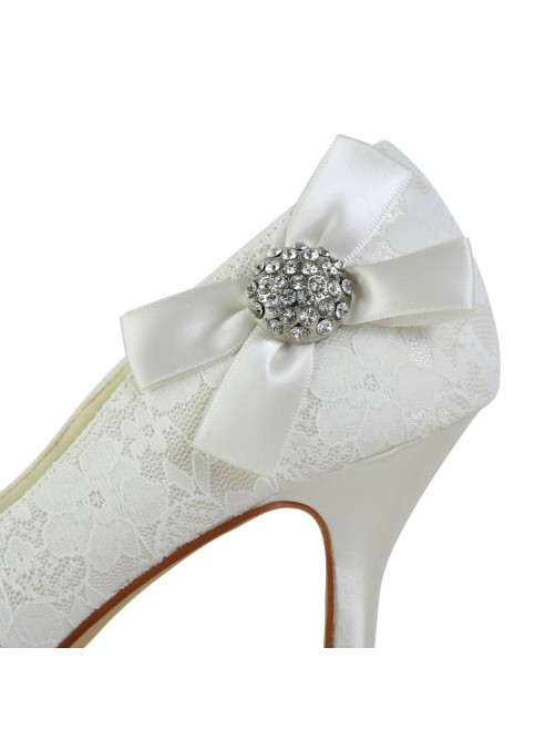 Chicregina Womens Satin Cone Heel Closed Toe Pumps Wedding Shoes with Bowknot Rhinestone