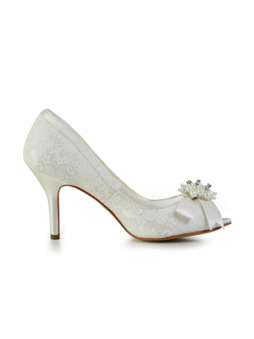 Chicregina Womens Satin Stiletto Heel Pumps Bridal Shoes with Imitation Pearl And Bowknot