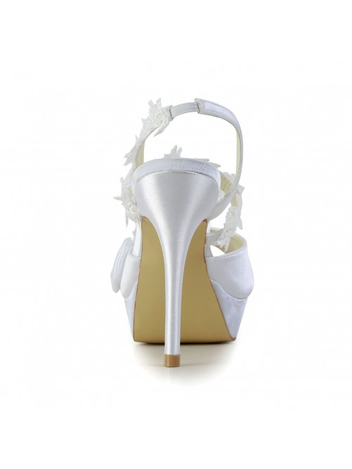 Chicregina Womens Satin Peep Toe Stiletto Heel Wedding Shoes with Wedding Bowknot