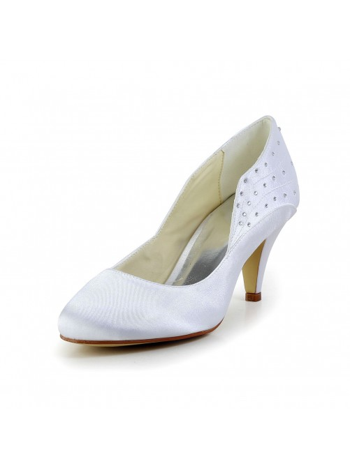 Chicregina Womens Simple Satin Closed Toe Cone Heel Wedding Shoes with Rhinestone