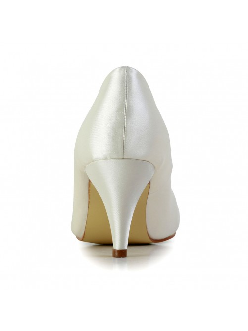 Chicregina Womens Satin Closed Toe Cone Heel Wedding Shoes with Rhinestone