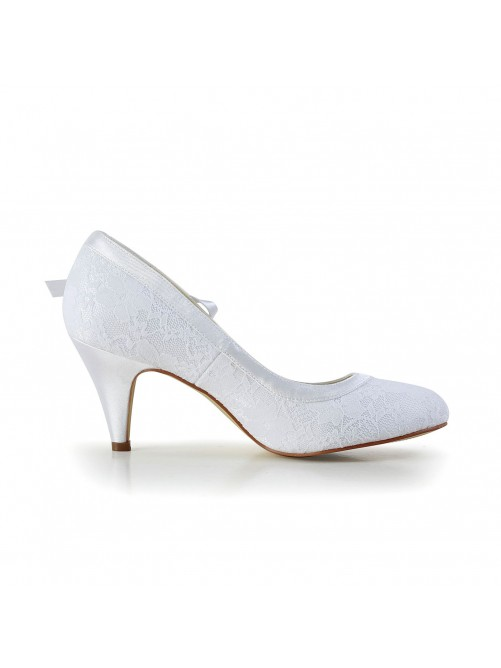 Chicregina Womens Amazing Satin Closed Toe Cone Heel Wedding Shoes with Bowknot