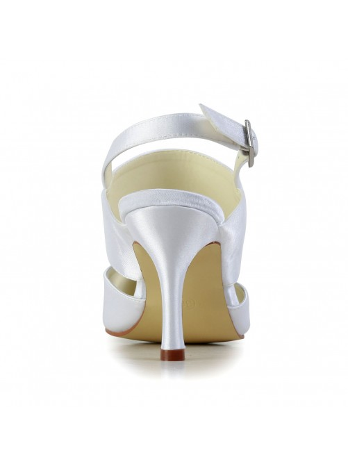 Chicregina Womens Satin Stiletto Heel Closed Toe Wedding Shoes with Buckle