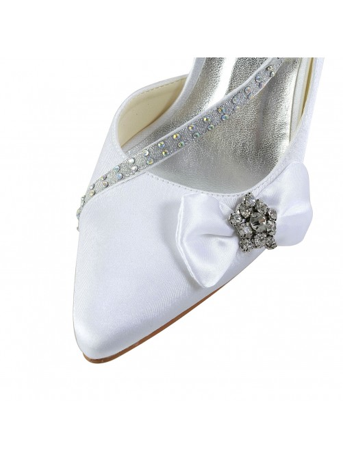 Chicregina Womens Satin Closed Toe Spool Heel Wedding Shoes with Rhinestone Bowknot