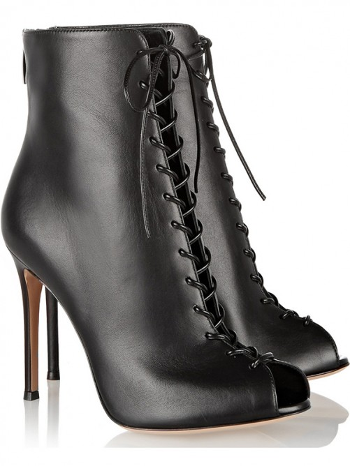 Chicregina Womens Pu Peep Toe Stiletto Heel Ankle Boots with Lace Up