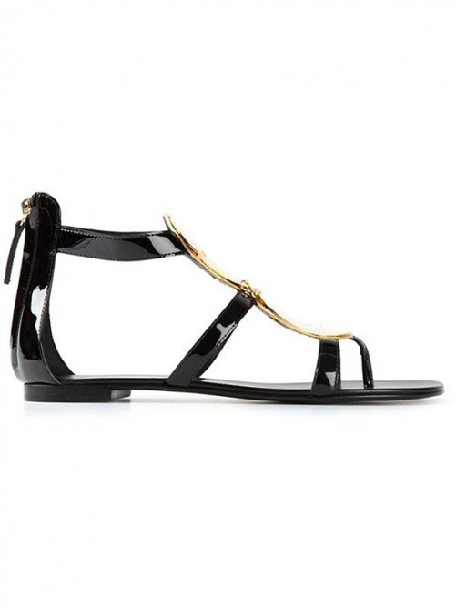 Chicregina Womens Patent Leather Flat Heel Peep Toe Sandal Shoes with Zipper