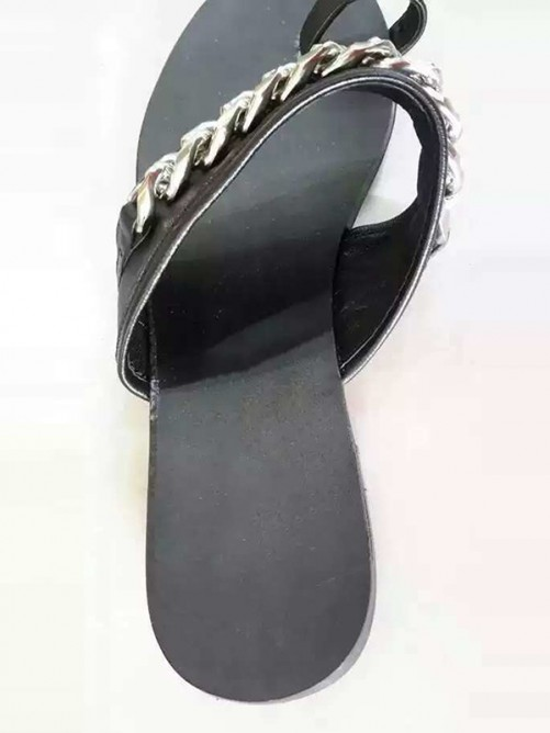 Chicregina Womens Black Flat Heel Sheepskin Sandal Slippers with Chain