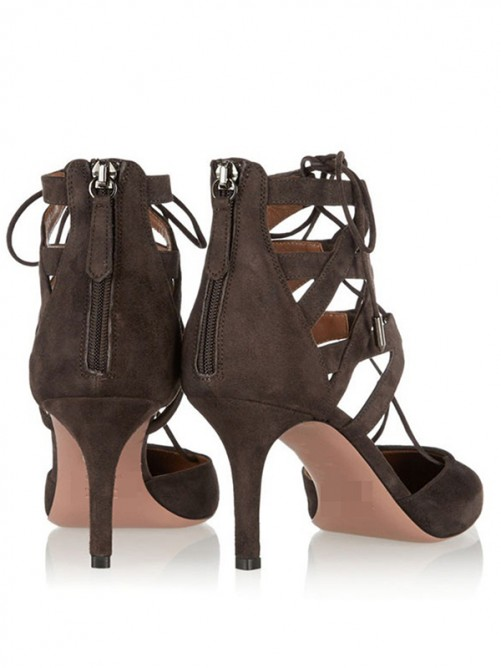 Chicregina Dark Coffee Pointed Toe Suede Sandals