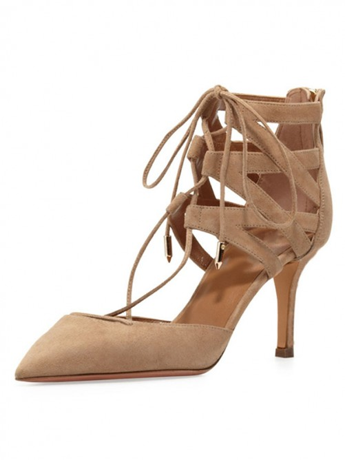 Chicregina Womens Stiletto Heel Suede Closed Toe Sandal Shoes with Lace Up