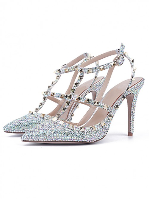 Chicregina Womens Stiletto Heel Patent Leather Closed Toe Evening Shoes with Rhinestone