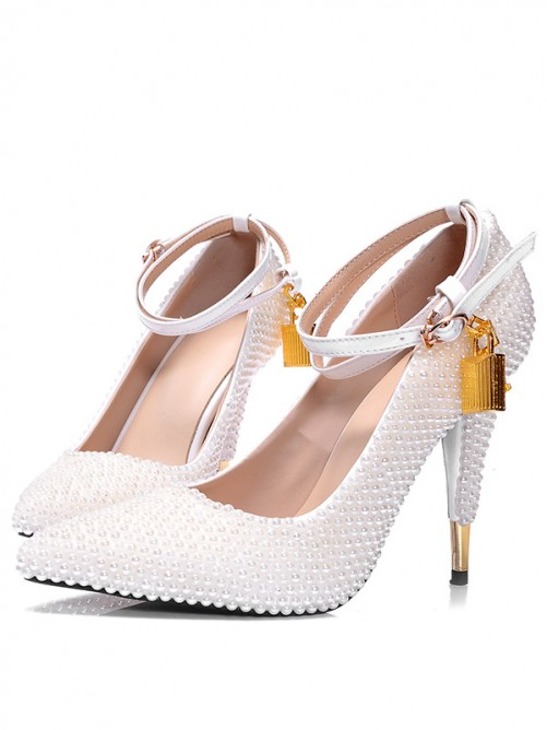 Chicregina Patent Leather Pearls Lock Pointed Toe White Bride High Heels