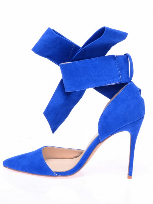 Chicregina Womens Suede Closed Toe Stiletto Heel with Knot Shoes