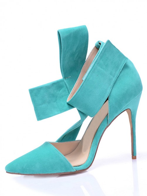 Chicregina Womens Stiletto Heel Suede Closed Toe with Knot Party Shoes