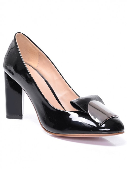 Chicregina Womens Black Closed Toe Patent Leather Chunky Heel Shoes