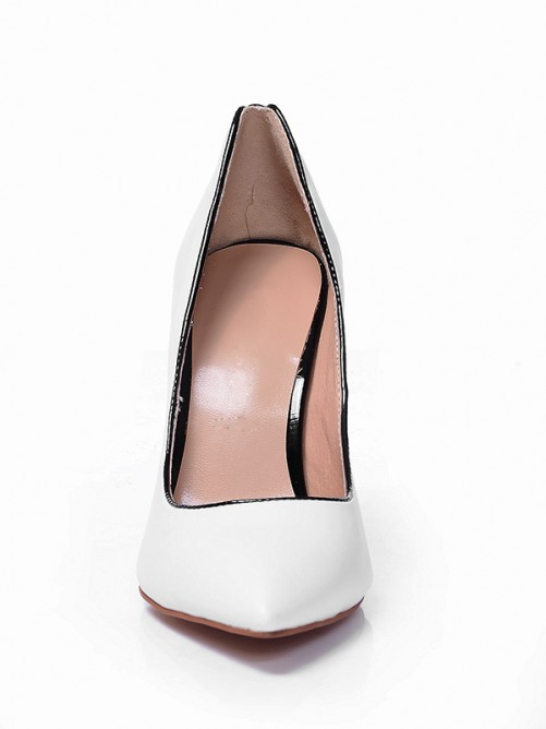 Chicregina Womens White Closed Toe Sheepskin Stiletto Heel Shoes