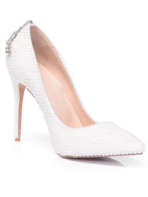 Chicregina Womens Closed Toe Patent Leather Stiletto Heel with Pearl Rhinestone Shoes