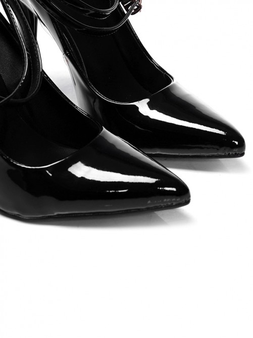 Chicregina Womens Patent Leather Closed Toe Cone Heel Evening Shoes with Buckle