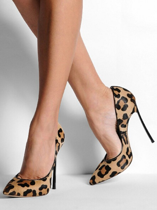 Chicregina Womens Closed Toe Sheepskin Stiletto Heel Party Shoes with Leopard