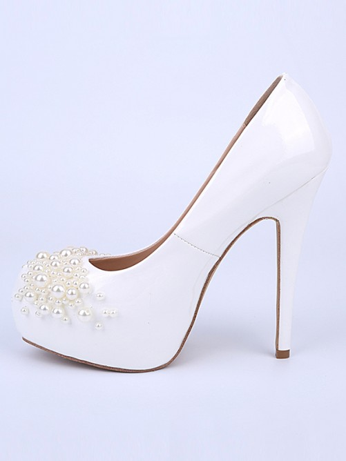 Chicregina Womens Stiletto Heel Patent Leather Closed Toe Evening Shoes with Pearl