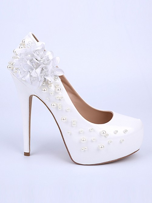 Chicregina Womens Patent Leather Closed Toe Stiletto Heel Wedding Shoes with Flower Shoes
